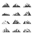 mountain set Simple black and white icons vector image