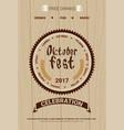 oktoberfest beer festival poster holiday vector image