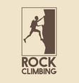poster logo silhouette man climbing on a rock vector image