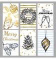 Sketch Christmas Tag Set vector image