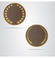 Two brown round leather VIP tag with gold laurel vector image