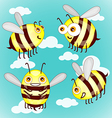 Set cartoon cute bees on sky with clouds vector image