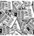 Newspaper monochrome vintage seamless background vector image