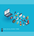 Web development integrated 3d icons growth and vector image