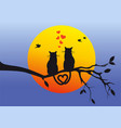 cats on tree branch vector image vector image