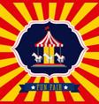 carousel amusement fun fair theme park poster vector image