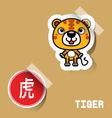 Chinese Zodiac Sign tiger sticker vector image