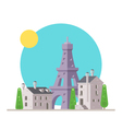 Flat design of Eiffel tower France with village vector image