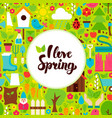 flat i love spring greeting vector image