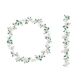Round Christmas wreath with poinsettia isolated on vector image