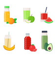 set of natural vegetable and fruit juices vector image