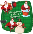 Set of Santa Clauses ready for christmas Snowman vector image