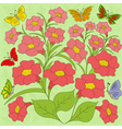 Flowers and butterflies color background vector image