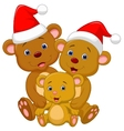 Cute bear family cartoon wearing red hat vector image