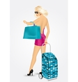 woman carrying a trolley suitcase vector image