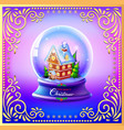 christmas snow globe with a house and trees vector image
