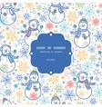 cute snowmen frame seamless pattern background vector image