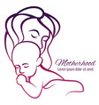 mom and baby colorful silhouette - motherhood vector image