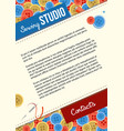 sewing studio poster template with buttons vector image