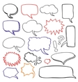 Hand drawn speech bubbles cloud doodle set vector image