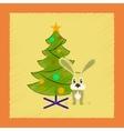 flat shading style icon Christmas tree Rabbit vector image