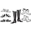 set of retro shoes vector image vector image