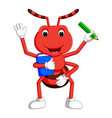 cute ant carrying boo and pencil vector image