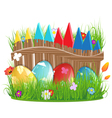 Easter eggs near a wooden fence vector image