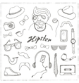 Set of hipster style symbols Sketches vector image