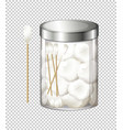 Cotton balls and cotton buds in jar vector image