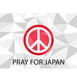 Pray for Japan with White Peace symbol vector image