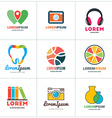 Set of Coloful Logo Templates Lab Pin Photographer vector image