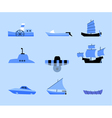 set of flat icons of different ships vector image