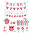 summer decoration and design elements set vector image
