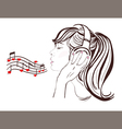 Happy Valentine Day pretty girl in headphones vector image vector image