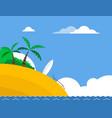 sunny tropical beach with surfboard vector image