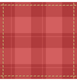 Red checkered background with stitches vector image