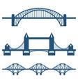 set of flat bridge icons isolated on white vector image vector image