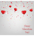 Happy Valentines Day Card With Red Hearts vector image vector image