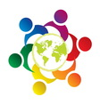 teamwork union people world vector image
