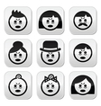 Tired or sick people faces icons set vector image