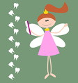 Card with The Tooth Fairy Girl with Wings and vector image