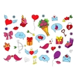 Colorful sketch with hand-drawing love objects vector image