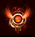 hot round banner with fiery wings vector image vector image