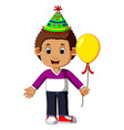 boy holding balloons vector image