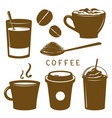 coffee cup breakfast icon brown cartoon vector image