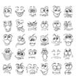Hand drawn doodle cartoon faces emotion set vector image