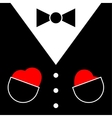 Mens suit with bow tie and hearts vector image