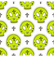 seamless pattern with skulls halloween vector image