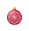 Red Ball with Snowflake Isolated on White vector image vector image